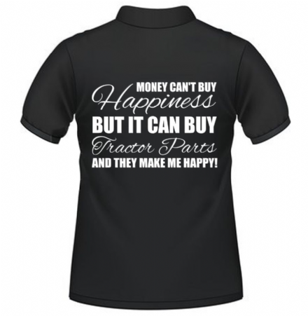 POLO SHIRT - BLACK - MONEY CAN'T BUY HAPPINESS TRACTOR - X-LARGE
